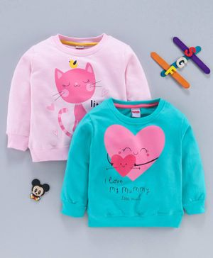 Babyhug Winter Wear Full Sleeves Tee Kitty & Heart Print Pack of 2 - Pink Blue