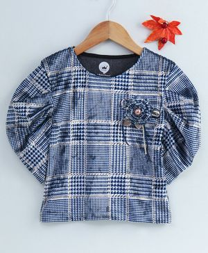 Vitamins Full Sleeves Plaid Top Flower Applique - Blue