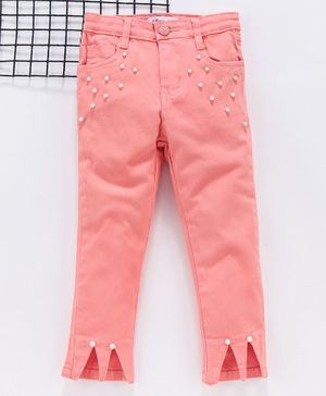 Memory Life Full Length Trousers With Bead Embeliishment - Peach
