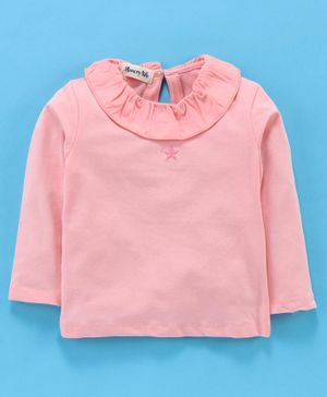 Memory Life Full Sleeves Solid Top With Star Embroidery - Pink
