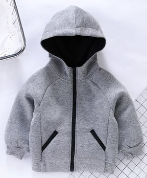 Memory Life Full Sleeves Solid Hooded Sweat Jacket - Light Grey