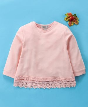 Memory Life Full Sleeves Solid Color Top - Light Pink
