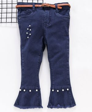 Memory Life Bell Bottom Trouser With Pearl Embellishment - Navy Blue