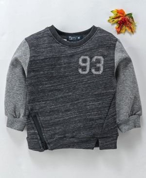 Memory Life Full Sleeves Winter Wear Tee 93 Patch - Black Grey