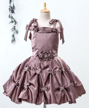 Enfance Short Sleeves Flower Decorated Fit & Flare Dress - Copper