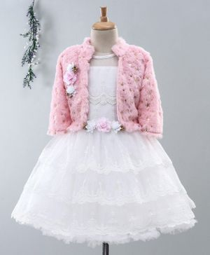 Enfance Sleeveless Scallop Trimmed Flower Embroidered Dress With Faux Fur Full Sleeves Shrug - Light Pink
