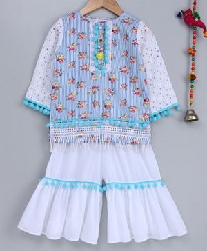 Little Bansi Flower Printed Three Fourth Sleeves Pom Pom Lace Detailed Kurta With Sharara - White & Light Blue