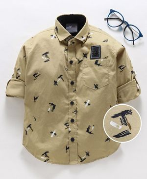 Dapper Dudes Printed Full Sleeves Shirt - Brown