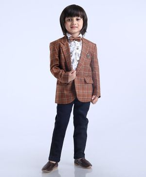 Dapper Dudes Flower Print Shirt With Full Sleeves Blazer Bow & Bottom - Brown