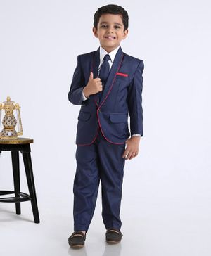 Rikidoos Full Sleeves Three Piece Solid Party Suit With Tie - Navy Blue