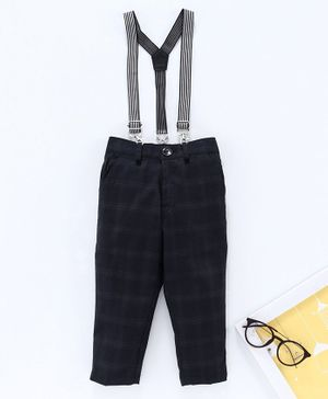 Rikidoos Full Length Checked Pants With Suspenders - Black