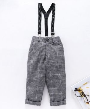 Rikidoos Checked Full Length Pants With Suspender - Grey