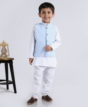 Rikidoos Full Sleeves Kurta With Striped Jacket & Pajama - White & Blue