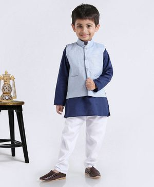 Rikidoos Solid Full Sleeves Kurta With Jacket & Pajama - White & Blue