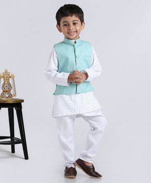 Rikidoos Tiny Bow Print Full Sleeves Kurta With Jacket & Pajama - Sea Green & White
