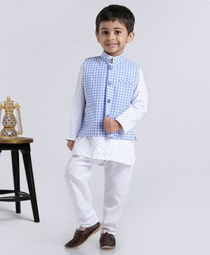 Rikidoos Tiny Bow Print Full Sleeves Kurta With Jacket & Pajama - Blue & White