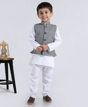 Rikidoos Tiny Bow Print Full Sleeves Kurta With Jacket & Pajama - Black & White