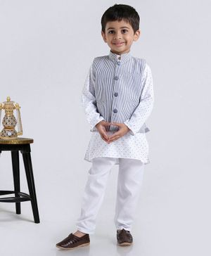 Rikidoos Full Sleeves Kurta With Striped Jacket & Pajama - Blue & White