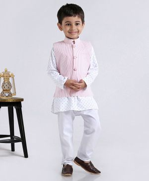 Rikidoos Full Sleeves Kurta With Striped Jacket & Pajama - Pink & White