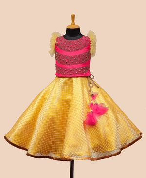 Li&Li Boutique Ruffled Sleeveless Pearl Embellished Choli With Checked Embroidery Lehenga - Pink & Yellow