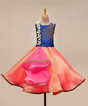 Li&Li Boutique Flower & Pearl Applique Sleeveless Choli & Lehenga - Royal Blue & Peach