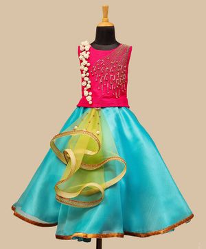 Li&Li Boutique Flower & Pearl Applique Sleeveless Choli & Lehenga - Pink & Light Blue