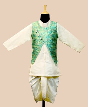 Li&Li Boutique Full Sleeves Kurta & Dhoti With Floral Print Jacket - Green & Off White