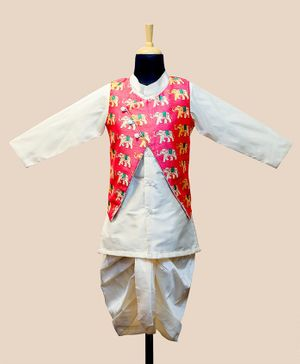 Li&Li Boutique Full Sleeves Kurta & Dhoti With Elephant Print Jacket - Pink & Off White
