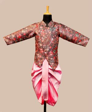 Li&Li Boutique Abstract Print Full Sleeves Kurta & Dhoti Set - Pink