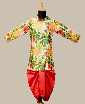 Li&Li Boutique Flower Printed Full Sleeves Kurta & Dhoti Set - Green & Peach