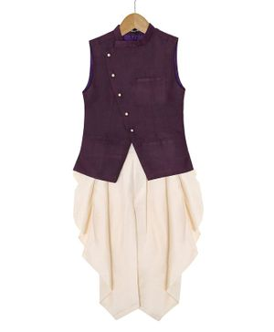 Silverthread Sleeveless Front Button Jacket With Dhoti Set - Purple & White