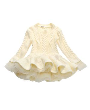 Pre Order - Awabox Solid Full Sleeves Knitted Sweater Dress - Off White