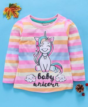 Eteenz Full Sleeves Stripe Tee Unicorn Print - Pink