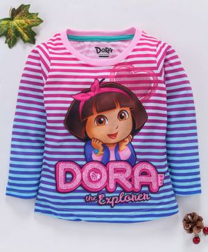 Eteenz Full Sleeves Stripe Tee Dora Print - Pink Blue