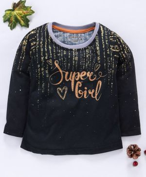 Eteenz Full Sleeves Tee Super Girl Print - Black