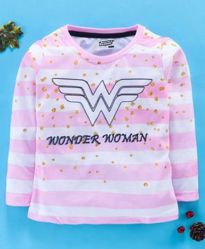 Eteenz Full Sleeves Stripe Tee Wonder Woman Print - Pink White