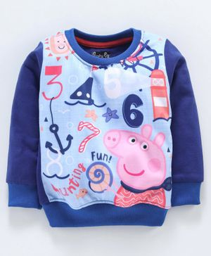 Eteenz Full Sleeves Sweatshirt Multi Print - Blue