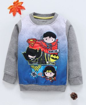 Eteenz Full Sleeves Sweatshirt Superhero Print - Melange Grey