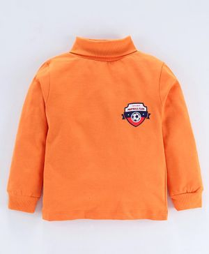 Simply Full Sleeves Tee Football Club Print - Orange