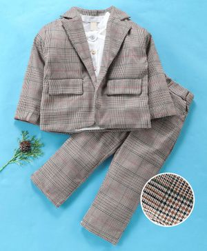 Kookie Kids 3 Piece Full Sleeves Checked Party Suit - Brown