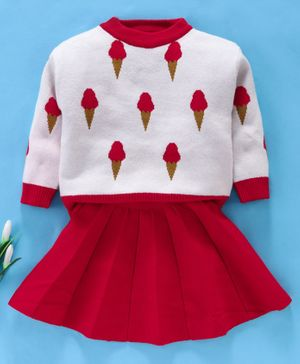 Kookie Kids Full Sleeves Tee With Skirt Ice Cream Design - Red