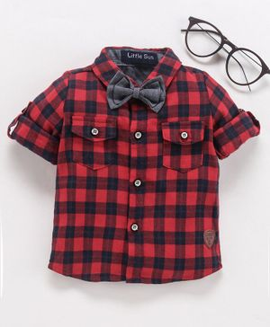 Little One Full Sleeves Checked Shirt With Bow - Red