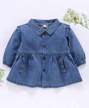 Little One Full Sleeves Collar Neck Denim Frock - Blue