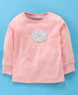 Little One Full Sleeves Tee Beaded Cloud Patch - Pink