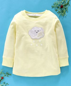 Little One Full Sleeves Tee Beaded Cloud Patch - Yellow
