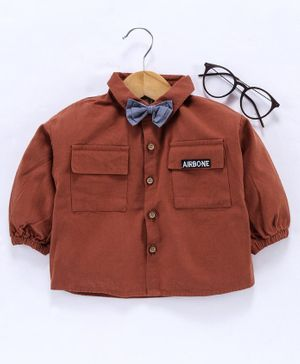 Little One Full Sleeves Shirt With Bow - Brown