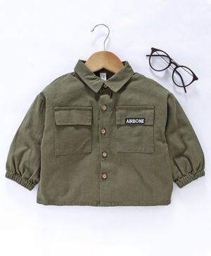 Little One Full Sleeves Solid Colour Shirt - Olive Green