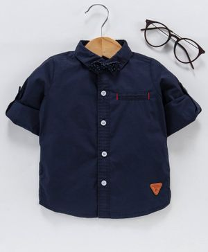 Little One Full Sleeves Solid Colour Shirt With Bow - Navy Blue