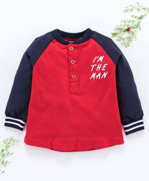 Little One Full Sleeves Tee Text Print - Red