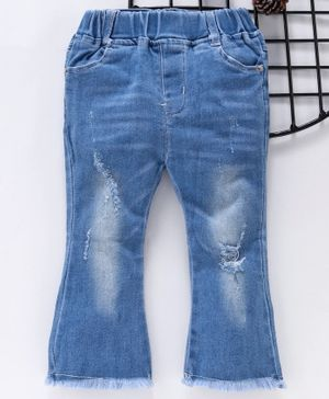 Little One Full Length Ripped Denim Jeans - Blue